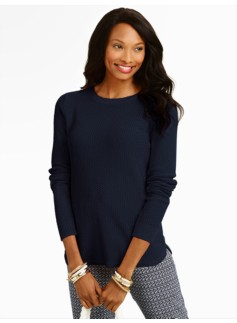 Lattice-Stitched Back-Button Sweater