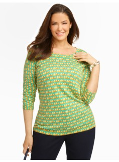 Pear-Print Back-Button Sweater