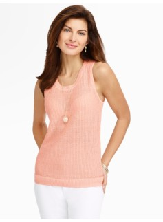 Tuck-Stitched Linen Shell