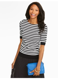 Stripe Keyhole-Back Sweater