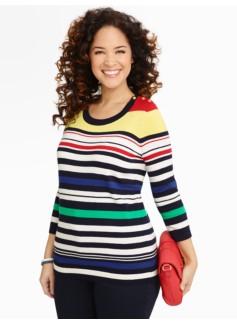 Gold-Button Multi-Stripe Sweater