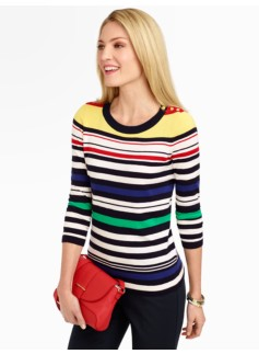 Gold-Button Multi-Stripe Sweater