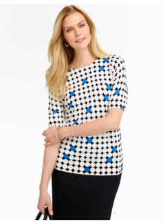Dot & Square Keyhole-Back Sweater
