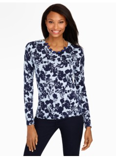Merino Zip-Shoulders Flower Silhouette Sweater
