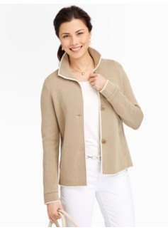 Ivory Trimmed Stand-Collar Sweater Jacket