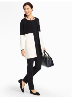 Long Colorblocked Sweater Jacket