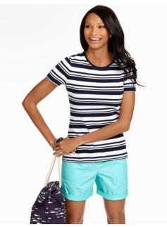 Multi Stripes Pima Cotton Crewneck
