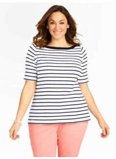 Stretch Weekend Striped Bateau Tee