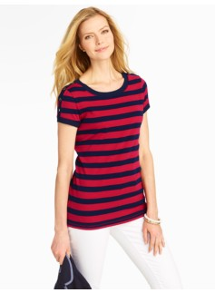 Stretch Weekend Striped Shoulder-Button Tee