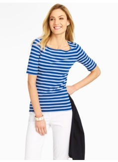 Spectator Stripes Platinum Jersey Envelope-Shoulder Top