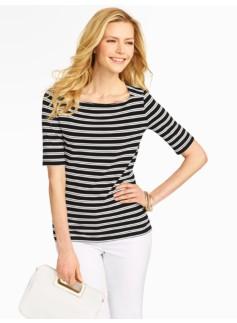 Spectator Stripes Platinum Jersey Envelope-Shoulder Top