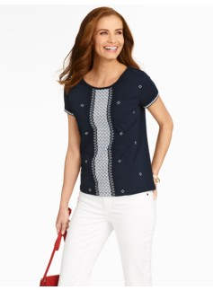 Cross-Stitch Back-Button Tee