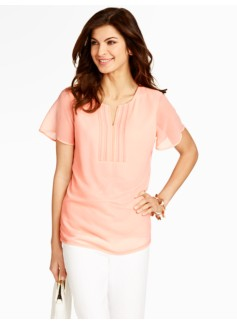 Pintucked Flutter-Sleeve Top