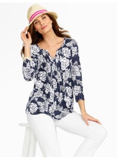Floral Woodcut Tunic Tee