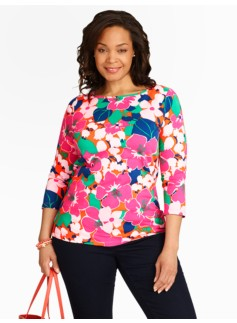 Tropical Flowers Bateau Neck Tee
