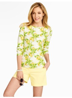 Pima Cotton Lemon Bunches Bateau Neck Tee