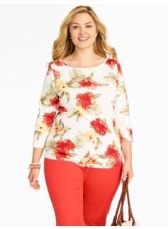 Pima Cotton Hibiscus Flowers Bateau Neck Tee