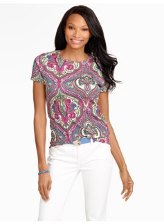 Ornate Paisley Petunia Pima Cotton Crewneck