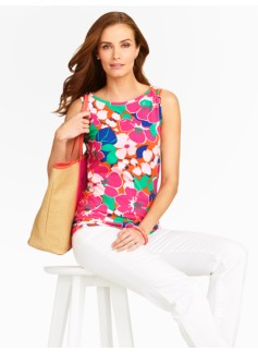 Tropical Flowers Bateau Shell