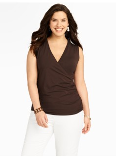 Platinum Jersey Sleeveless Wrap Top