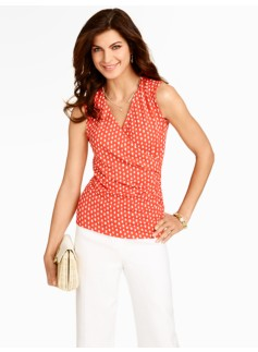 Platinum Jersey Painted Dots Sleeveless Wrap Top