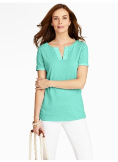 Ribbon-Trimmed Notched-Crewneck Tee