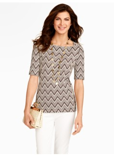 Zigzag Print Envelope-Shoulder Top