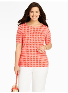Rattan Print Envelope-Shoulder Top