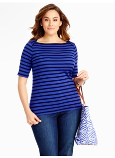 Stripes Pima Cotton Envelope-Shoulder Tee