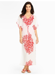 Coral-Print Cover-Up