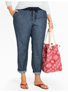 Chambray Drawstring Roll-Cuff Ankle Pants