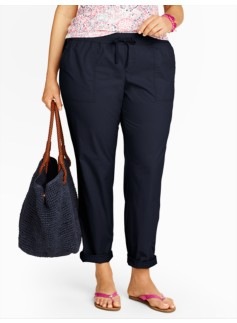 Drawstring Roll-Cuff Ankle Pants