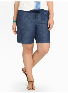 Drawstring Chambray Shorts