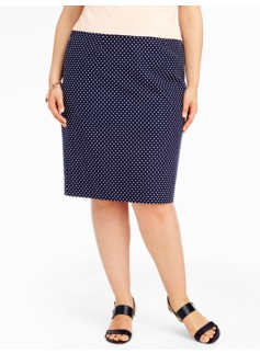 Dot Jacquard Pencil Skirt
