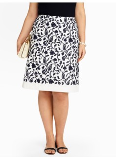 Country Floral Embroidered A-line Skirt