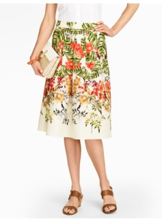 Tropical Flowers Linen Skirt