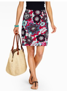 Jacobean Floral A-Line Skirt