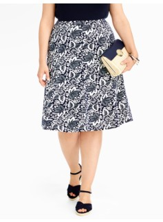 Dotted Floral Paisley Seamed Knit Skirt