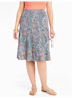 Palm Desert Paisley Seamed Knit Skirt