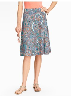 Palm Desert Paisley Seamed Knit Skirt