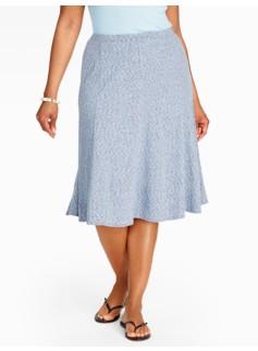Chambray Seamed Knit Skirt