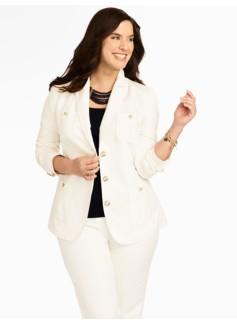 Refined Linen Stucco Four-Pocket Jacket