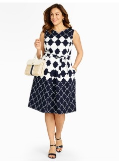 Geo-Clover Jacquard Dress