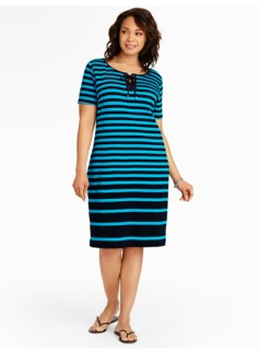 Stripe Interlock Lace-Up Placket Dress