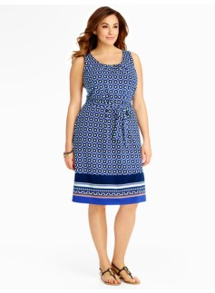 Tile-Print Border Dress