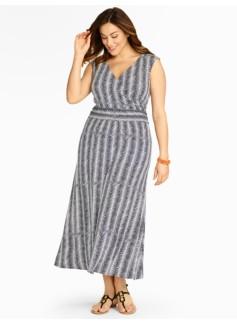 Herringbone-Print Knit Maxi Dress