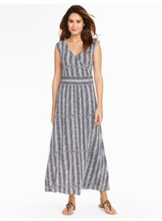 Herringbone-Print Knit Maxi Dress