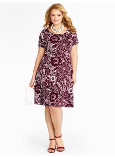 Woodcut Floral Knit Dress