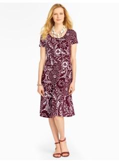 Woodcut Floral Knit Dress