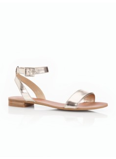 Laine Metallic Leather Ankle-Strap Sandals